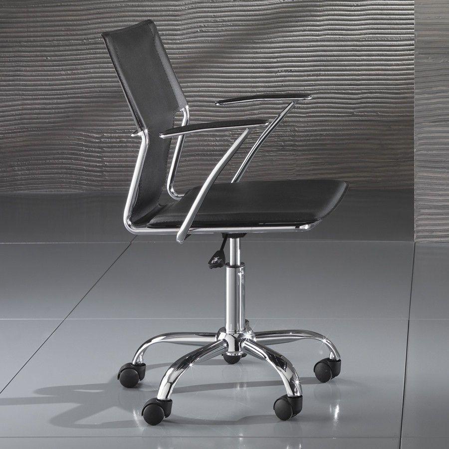 Sedia operativa Syder per ufficio in ecopelle bianca o nera ...