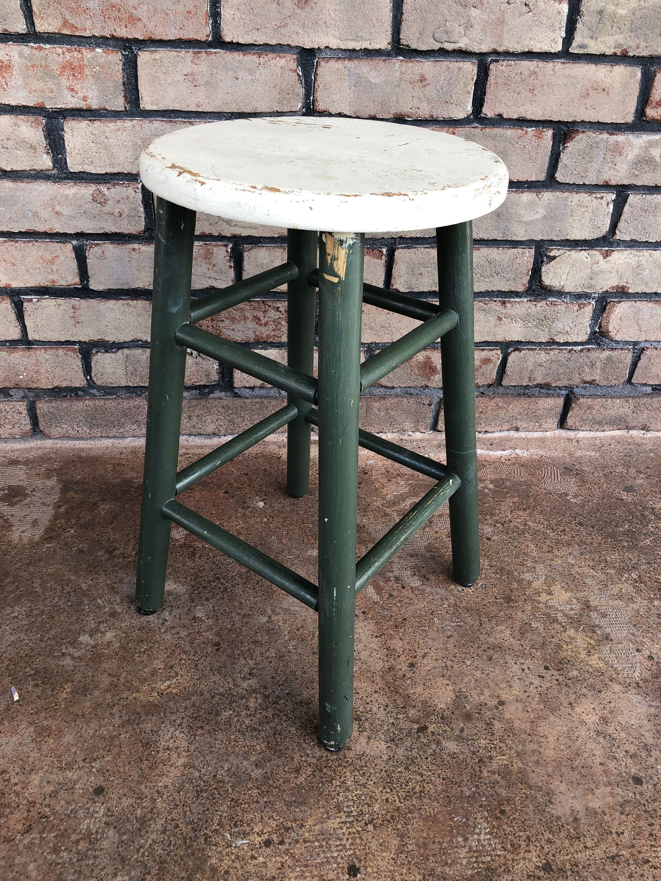 Miraculous Vintage Green And White Stool Painted Farm House Plant Spiritservingveterans Wood Chair Design Ideas Spiritservingveteransorg