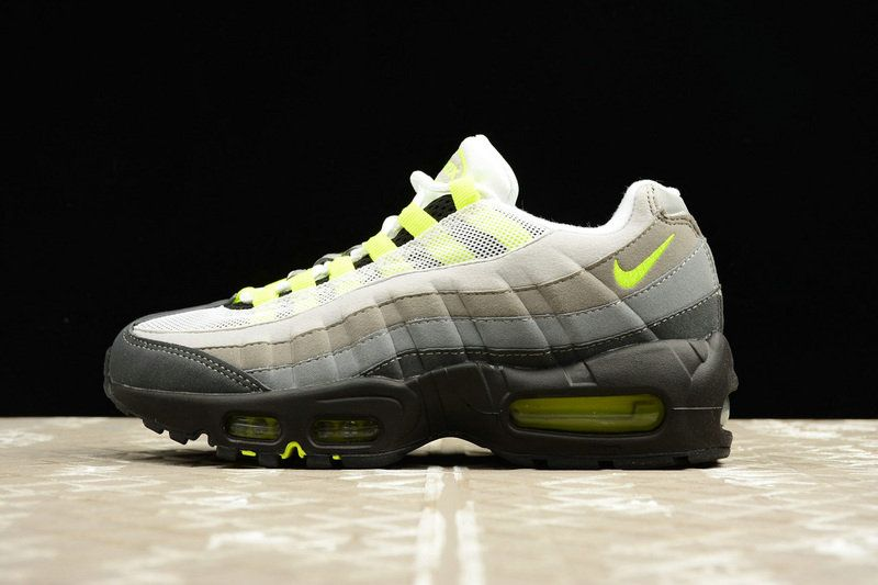 more photos a8896 1d513 Spring Summer 2018 Authentic Women Nike Air Max 95 OG Black Volt Neon Grey  307960-002