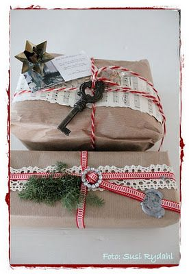 brown paper packages tied up in strings.....  love the key and sheet music