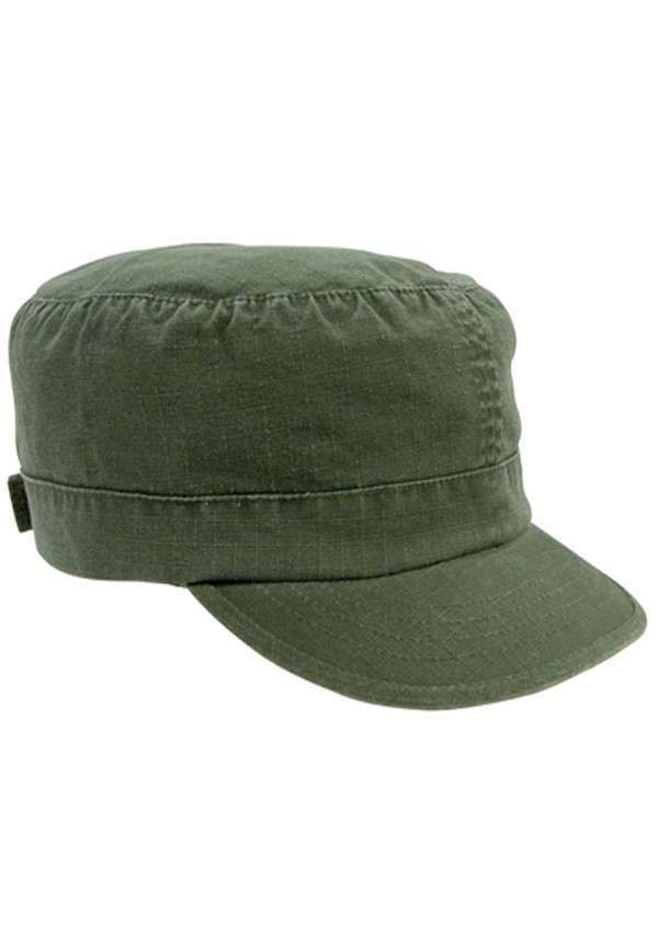 Womens Olive Drab Rip Stop Adjustable Vintage Fatigue Hat 395e05fe869