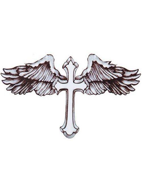 Cross With Feathers Temporary Flash Tattoo Tattoofeels Com Tatuagem De Cruz Com Asas Tatuagem De Asas Cruz Com Asas