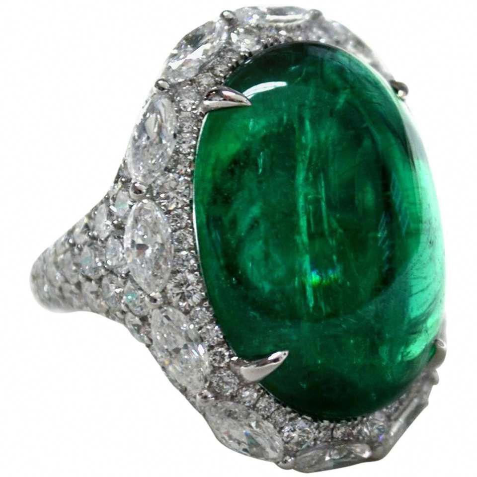 21 49 Carat Oval Cabochon Emerald Diamond Ring For Sale