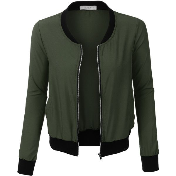 LE3NO Womens Ultra Lightweight Short Bomber Jacket (€20) ❤ liked on Polyvore featuring outerwear, jackets, tops, bomber jacket, lightweight bomber jacket, light weight jacket, lightweight jackets and flight jacket