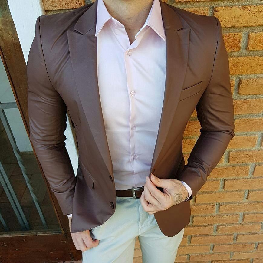 Brown Blazer Paired With Light Pink Shirt And Khakis For Men Menswear Light Pink Shirt Men Suits Blue Blue Suit Men
