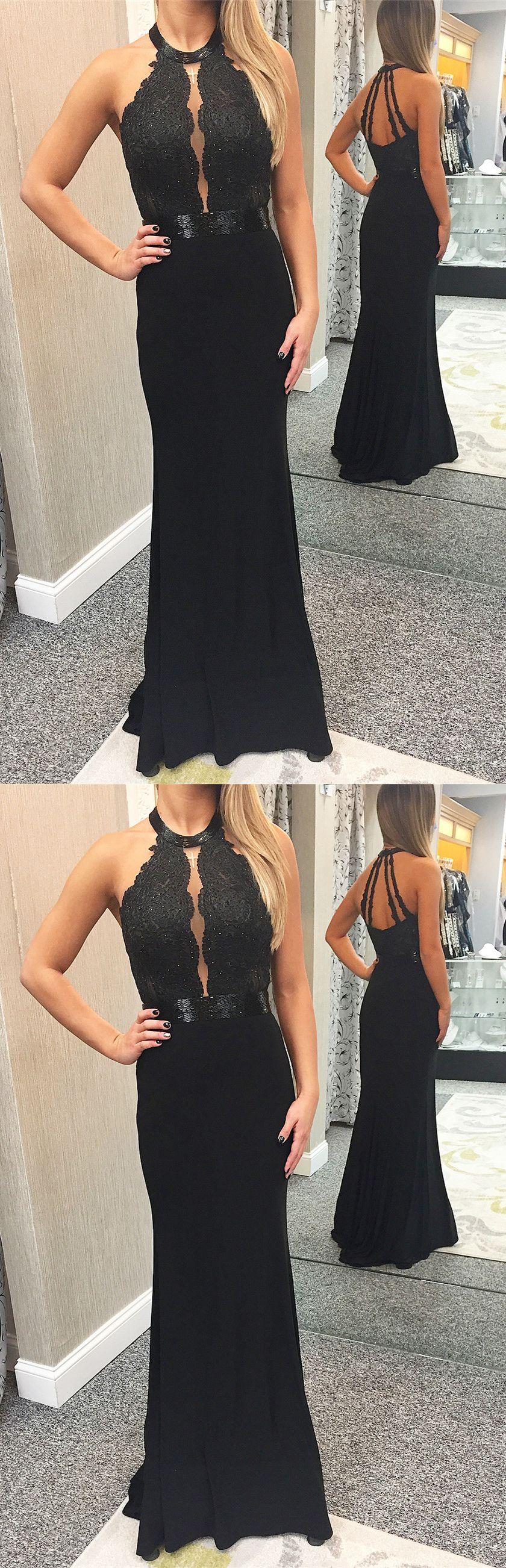 Mermaid jewel black long promevening dress promdresses