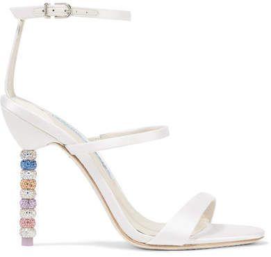 802457529 Sophia Webster - Rosalind Crystal-embellished Leather Sandals - White Wedding  Bride Bridal  ad