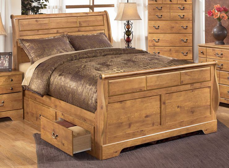 Adorable Bittersweet King Size Sleigh Bed With Nightstand Set
