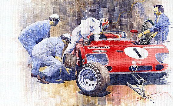 Alfa Romeo 33tt3 Targa Floria 1972 Vaccarella Stommelen By Yuriy Shevchuk Automotive Art Automotive Art Illustrations Motorsport Art