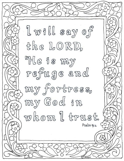 The Lord Is My Refuge Bible Verse Coloring Page For Psalm 91 2