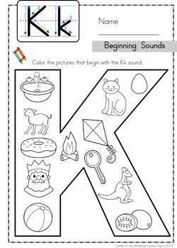 Phonics Letter of the Week Kk: Beginning Sounds color it
