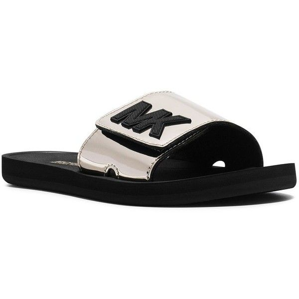 b096608ad08a Michael Michael Kors Women s Metallic MK Slides ( 49) ❤ liked on Polyvore  featuring shoes