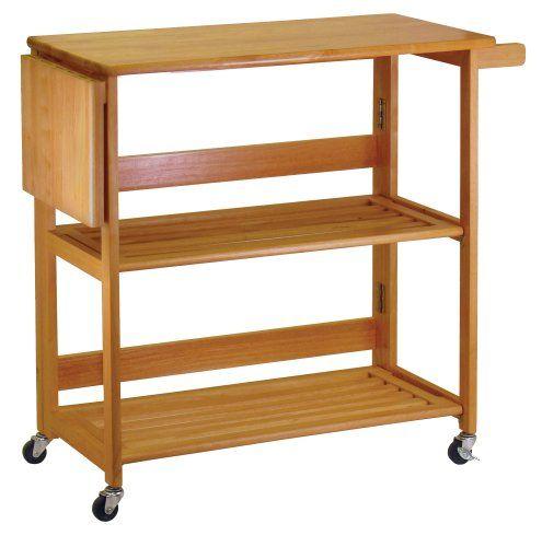 Winsome Wood Foldable Kitchen Cart With Knife Block Light Oak