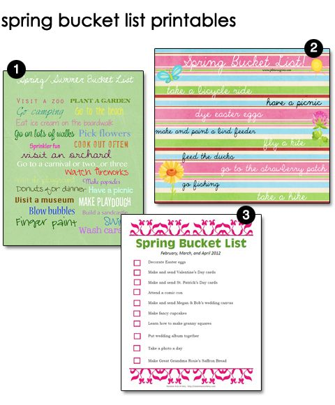 Free Spring Bucket List Printables Keep it 2gether Pinterest - classroom list template