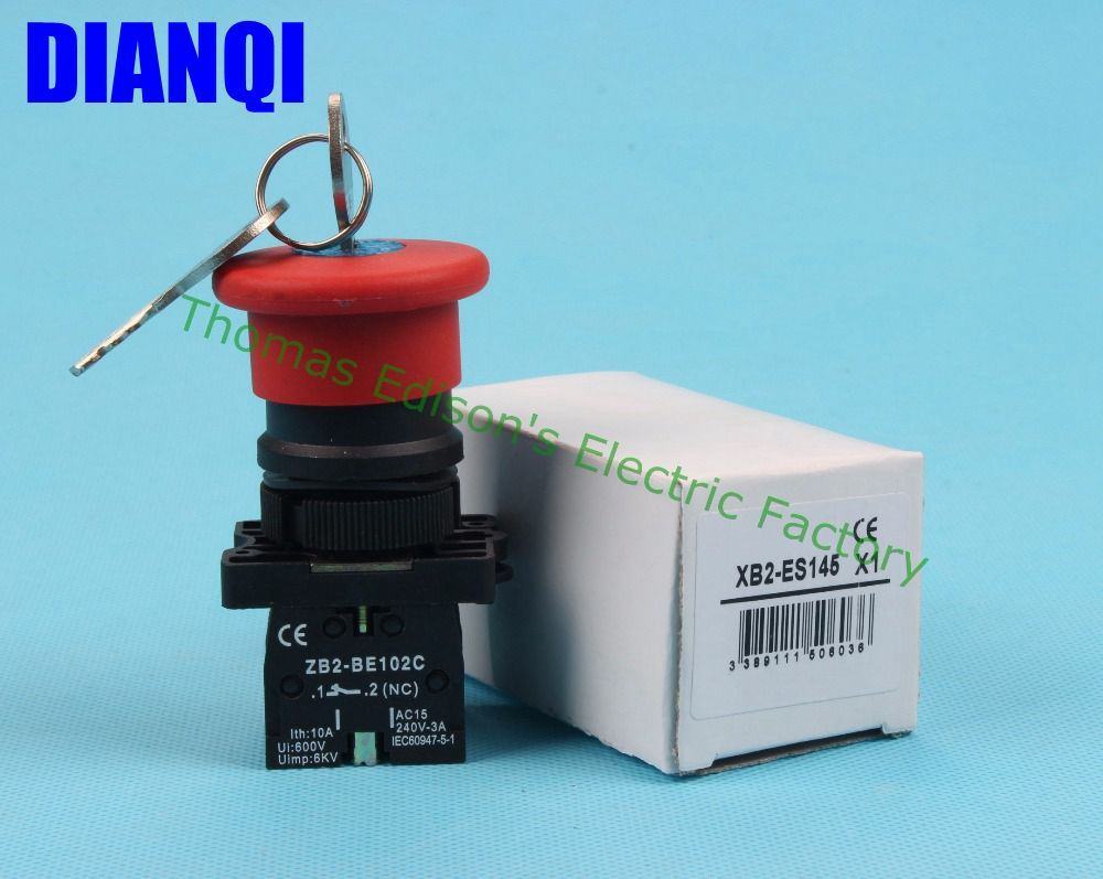 Xb2 Es145 Key Reset Emergency Stop Pushbutton Head 40mm N C O Push Button Switches Large 10mm Latching Switch Red