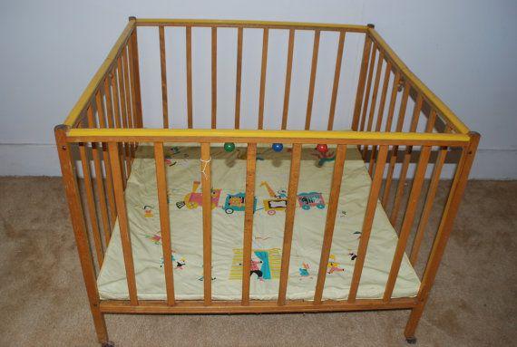 1950s Mid Century Wood Child S Playpen Vintage Baby Cribs My