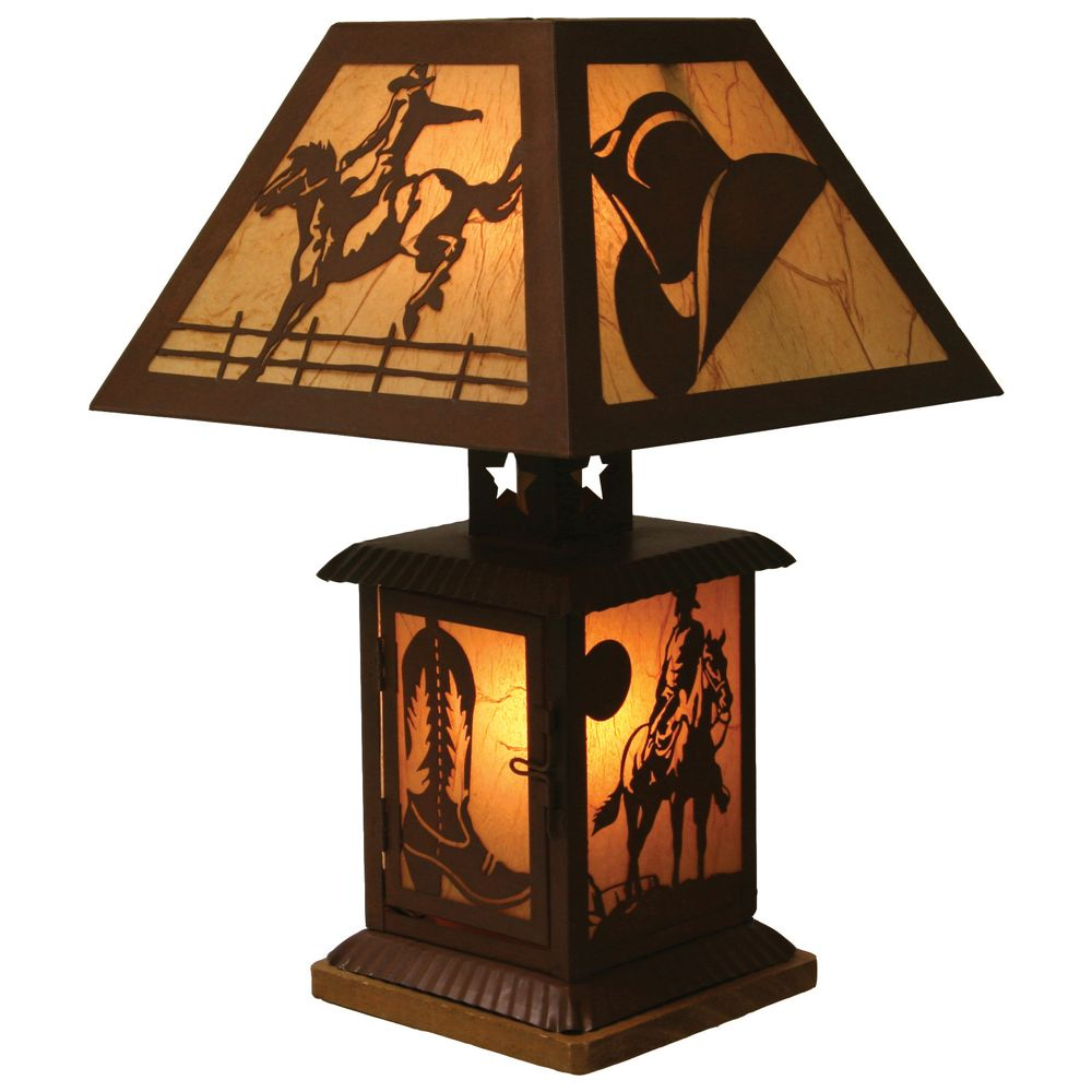 This incredible rustic cowboy table lamp stands 14 tall and lights western tin table lamp high home ranch art decor aloadofball Gallery