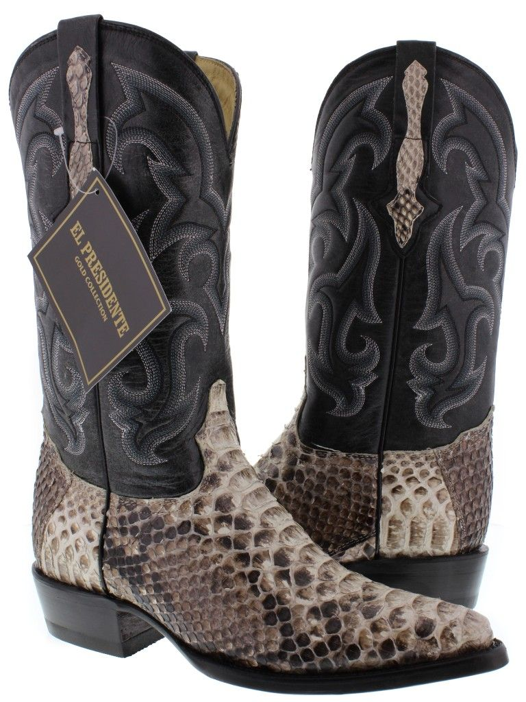 Women's Snip Toe Natural Genuine Leather Full Vamp Python Skin Western Boots