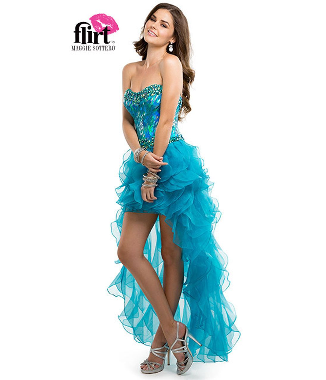 Flirt by Maggie Sottero 2014 Prom Dresses - Electric Teal High-Low ...