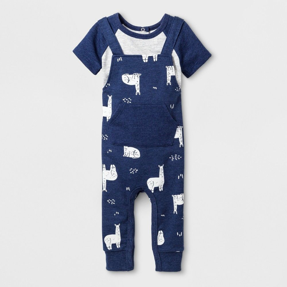 17a9da7896f0 Baby Boys  2pc Raglan Short Sleeve Bodysuit and French Terry Cloth Overalls  Set - Cat   Jack Navy 3-6M