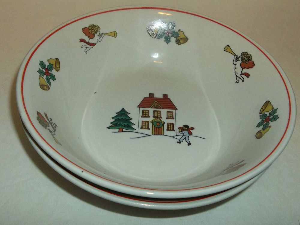 Cereal Bowls 2 Classic Collectors Joy Of Christmas House Bells Angels EUC