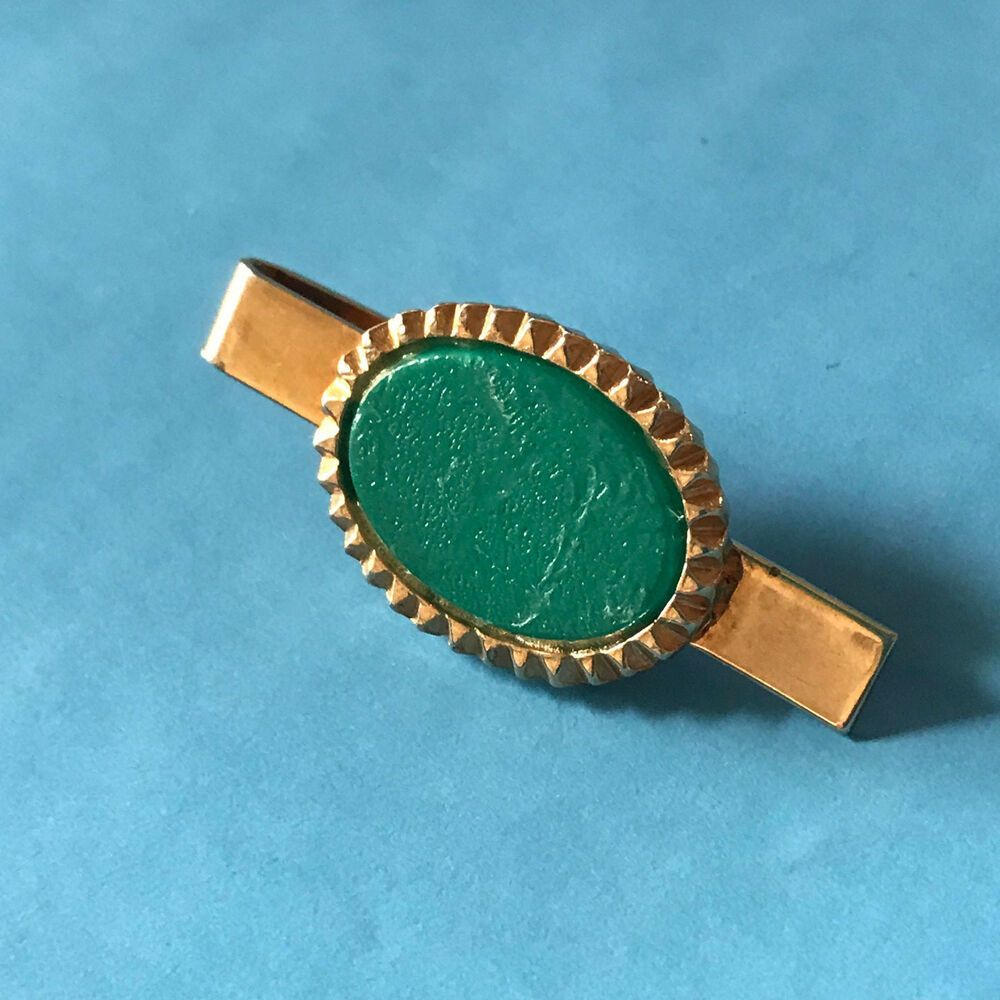 Vintage Mens Metal Tie Bar Clip Gold Tone Round Turquoise
