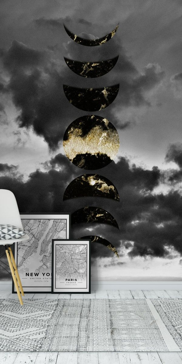 Mystical Moon Phases 1 Wallpaper in 2020 Wall murals