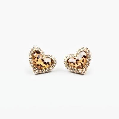 Rhinestone Cheetah Print Heart Earrings. LOVE