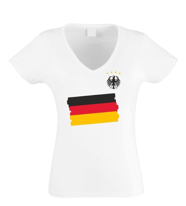 Damen T-Shirt V-Neck WM EM Bundesadler Deutschland Fußball Mannschaft Flagge