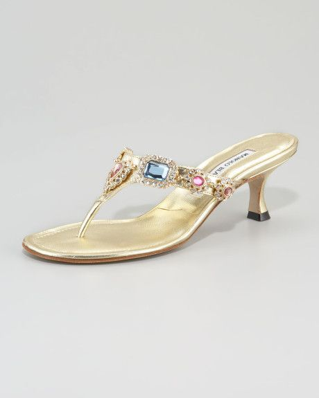 2b4074a71 Women s Metallic Beaded Kitten-heel Thong Sandal