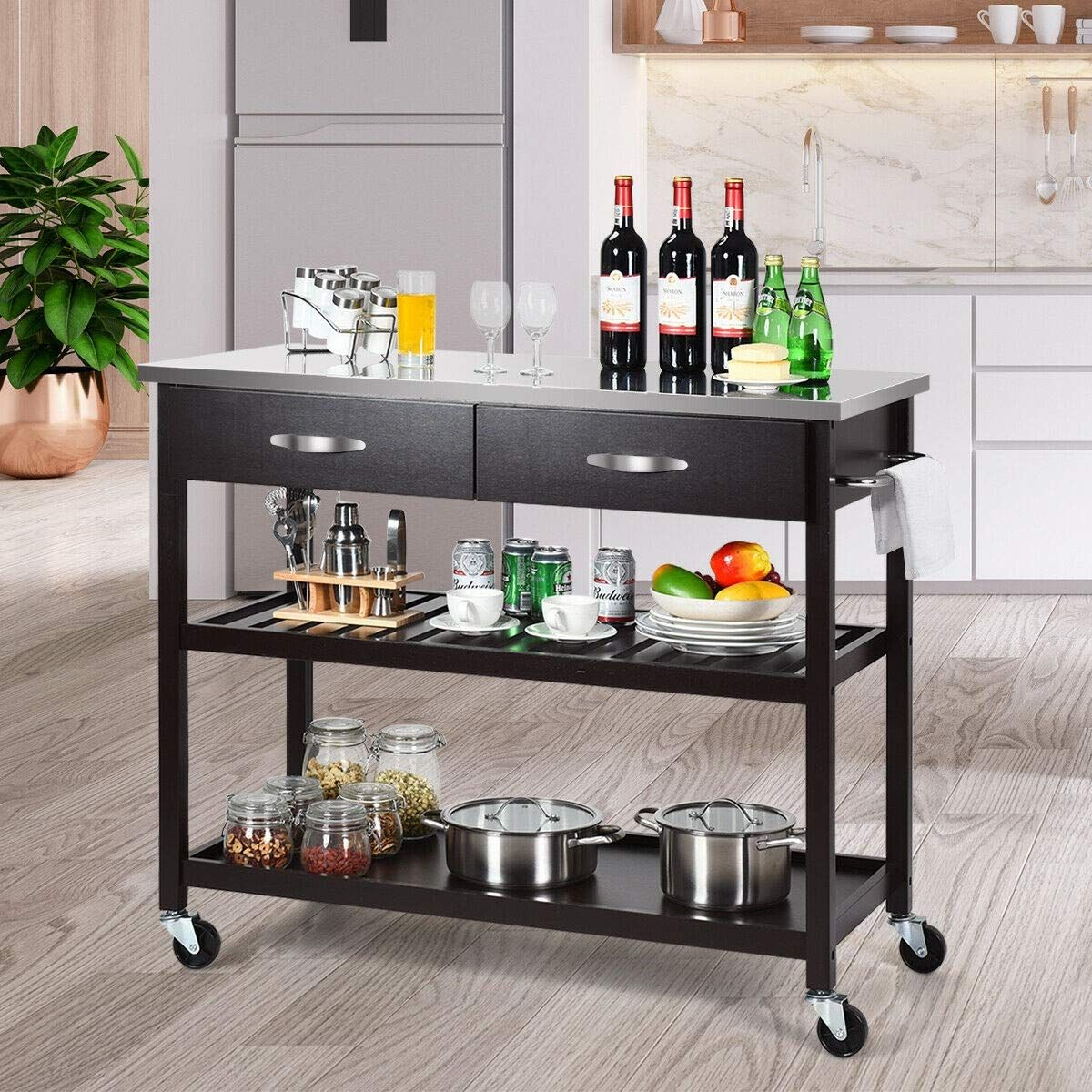 MultiUse Island Trolley Cart Stainless Steel Storage