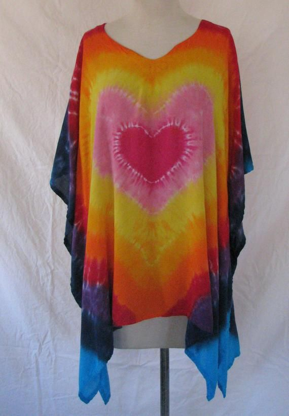 Tie Dye Poncho with Pink Heart Rainbow