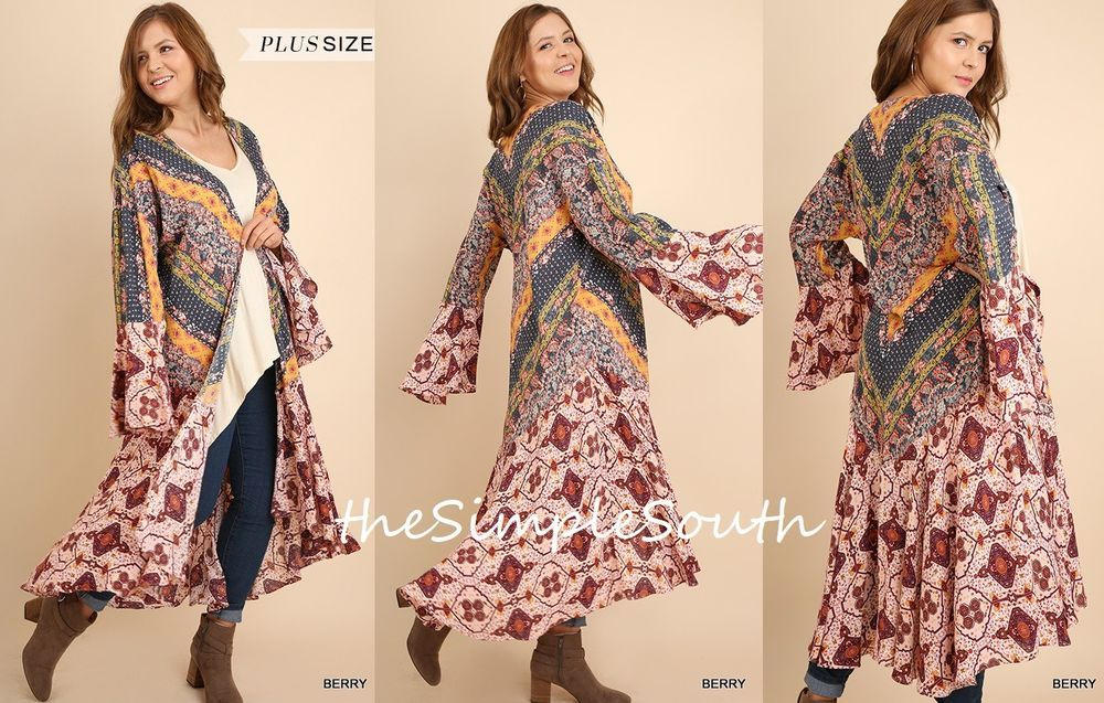 6ff9a48b0a15b New UMGEE Ruffled Long Chevron Patchwork Open Kimono Jacket Duster Cardigan  XL (Also available in 1XL   2XL in my store
