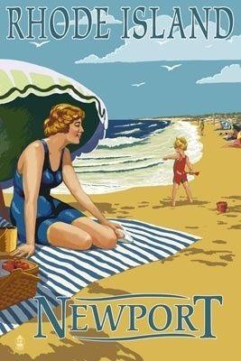 Newport, Rhode Island - Beach Scene - Lantern Press Poster #VisitRhodeIsland