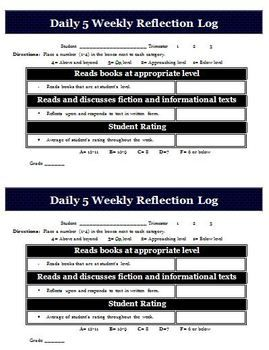 Daily  Weekly Reflection Log For Students  Sherri School
