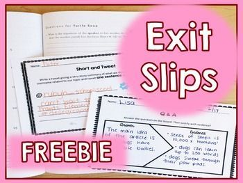 Exit Slips :: This is a free sample of  two exit slips for upper elementary…