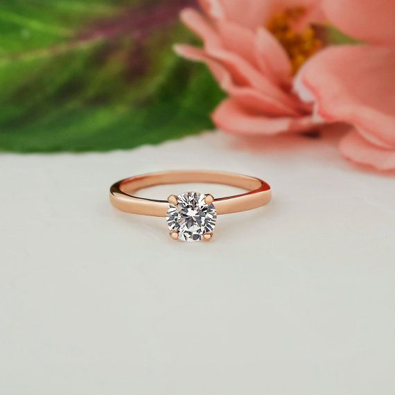 1 2 Ct Promise Ring Engagement Ring 4 Prong By Tigergemstones With Images Solitaire Engagement Ring Rose Gold Man Made Diamonds Round Solitaire Rings