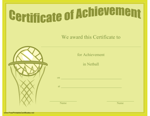 A printable certificate of achievement honoring excellence in certificate of achievement in netball printable certificate yadclub Images