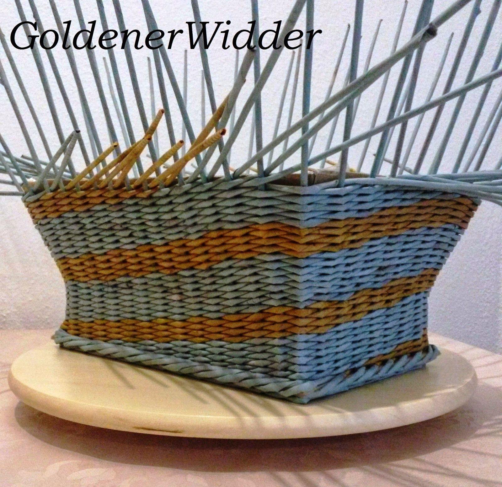 Плетение из газетных трубочек: Послойное плетение, одинарными трубочками. Корзина с расширяющимися стенками. Двухцветное плетение. Фанера.