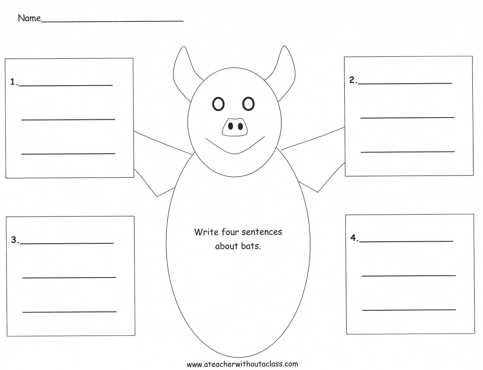 Four Square Writing Template For A Bat