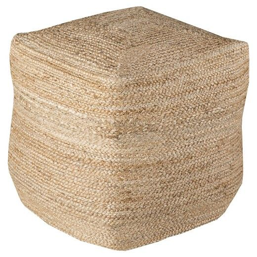 Beige Knotted Cube Pouf 40x40x40 Surya Construction Gold Custom Gold Pouf Target
