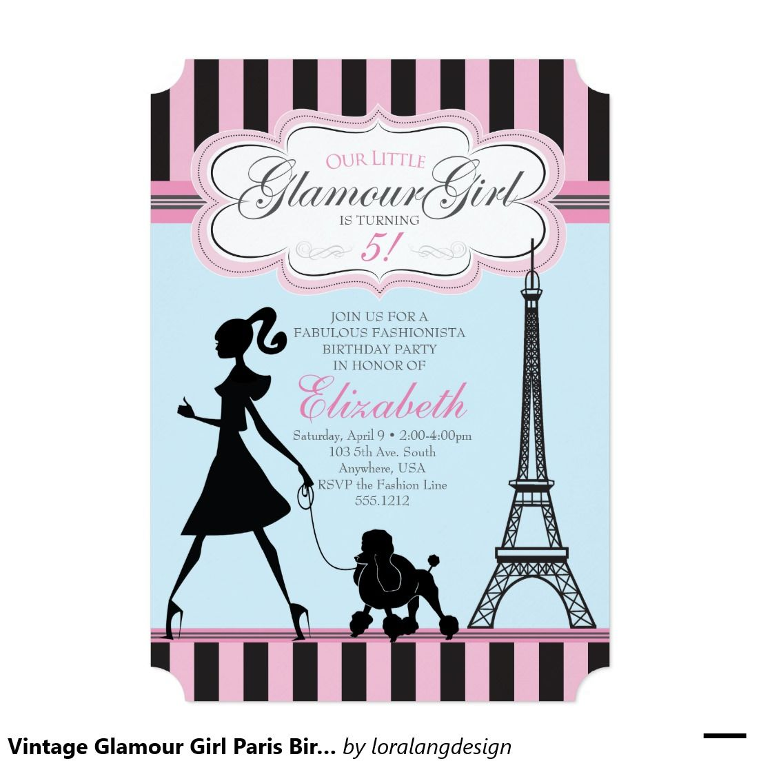 Vintage Glamour Girl Paris Birthday Invitation | Vintage glamour ...