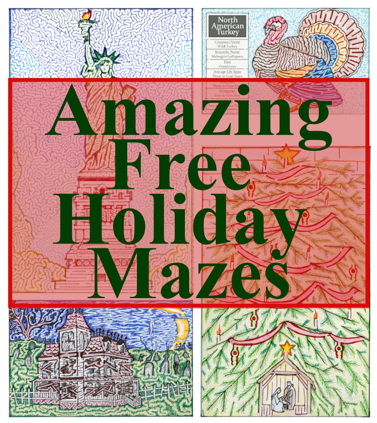 Free Printable Hand Drawn Holiday Mazes Perfect For