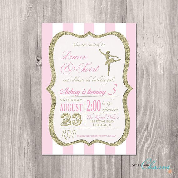 Ballerina Birthday Invitation Tutu Invitation Dance Party Vintage