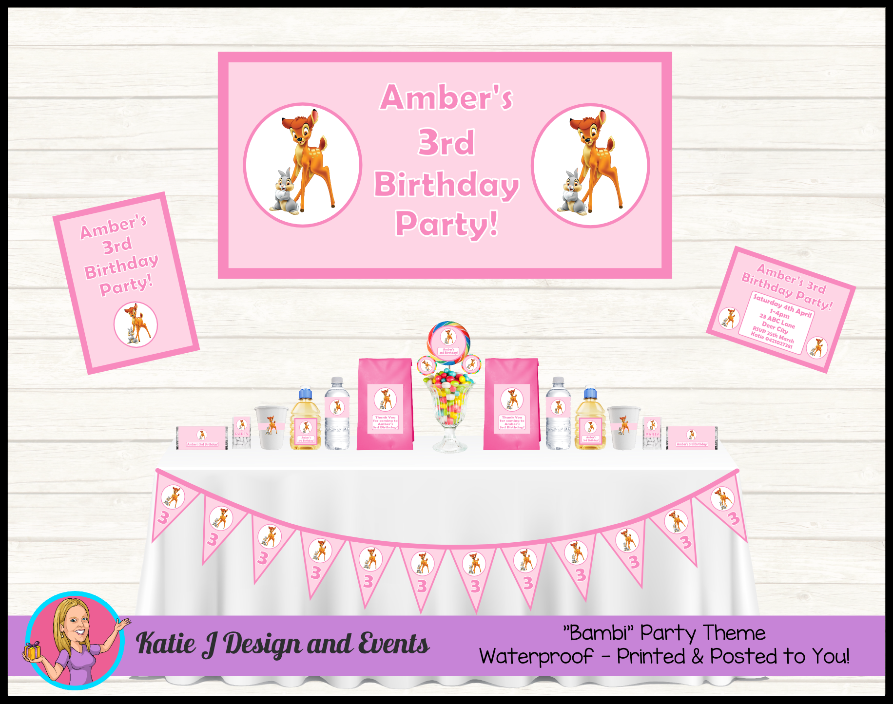 Bambi Thumper Personalised Birthday Party Decorations Supplies Packs Shop Online Australia Banners Bunting Wall Display Cupcake Toppers Chocolate Wrappers