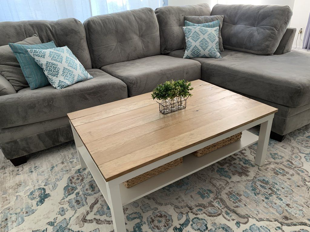 - DIY Farmhouse Coffee Table - Ikea Lack Coffee Table Hack In 2020