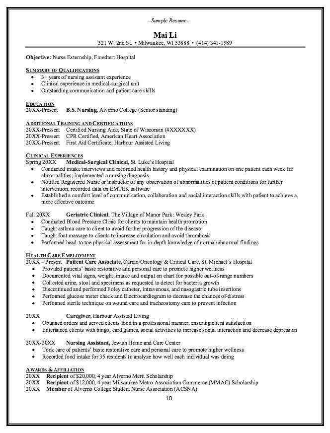 sample resume for geriatric nursing assistant