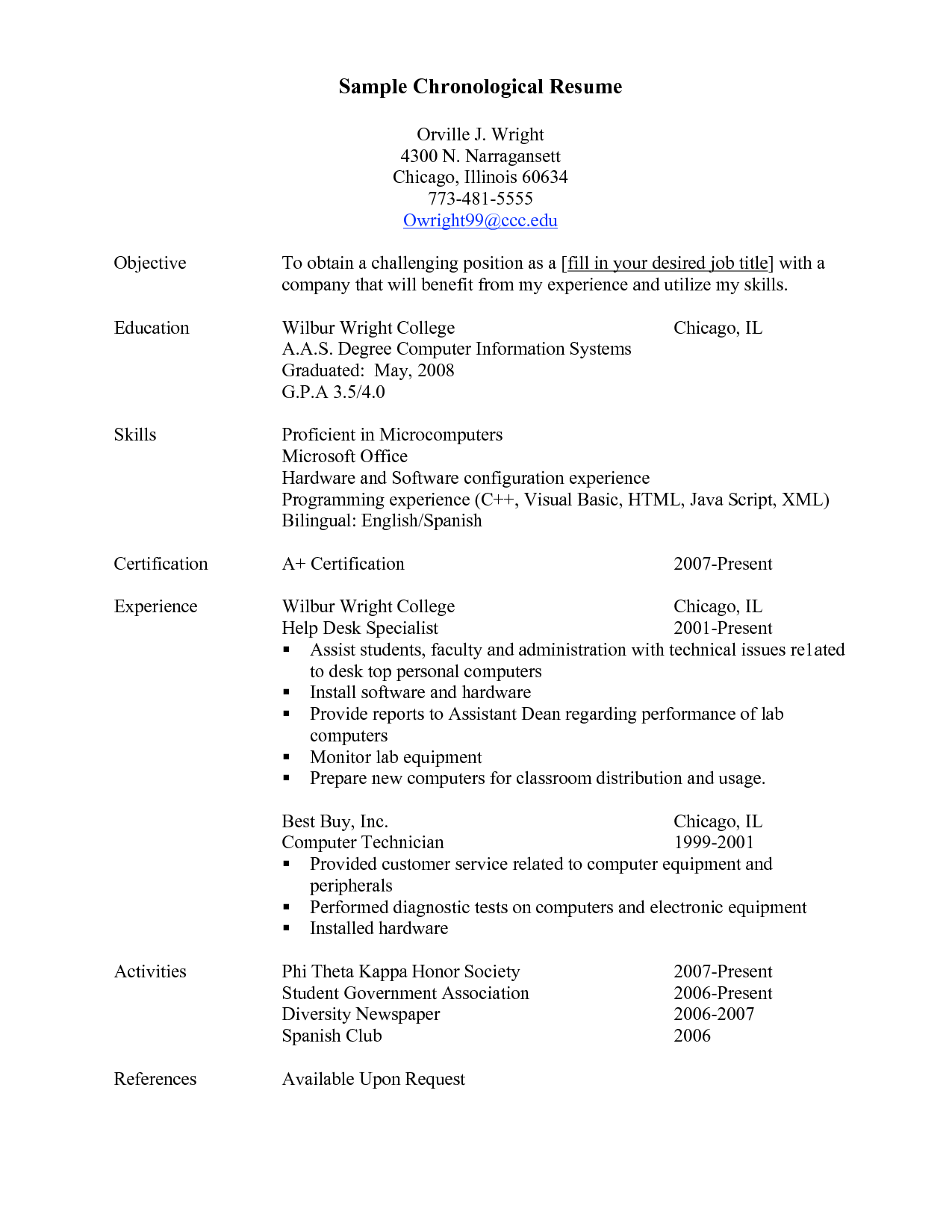 Resumes Examples Chronological Resume Outline Templates Example