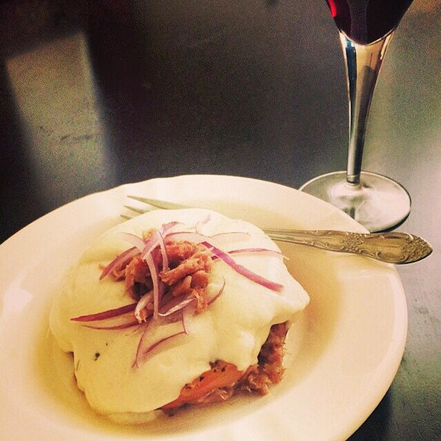 Duck confit with roasted heirloom tomato, fresh mozzarella and red onion with a glass of Pinot Noir...Saturday lunch!