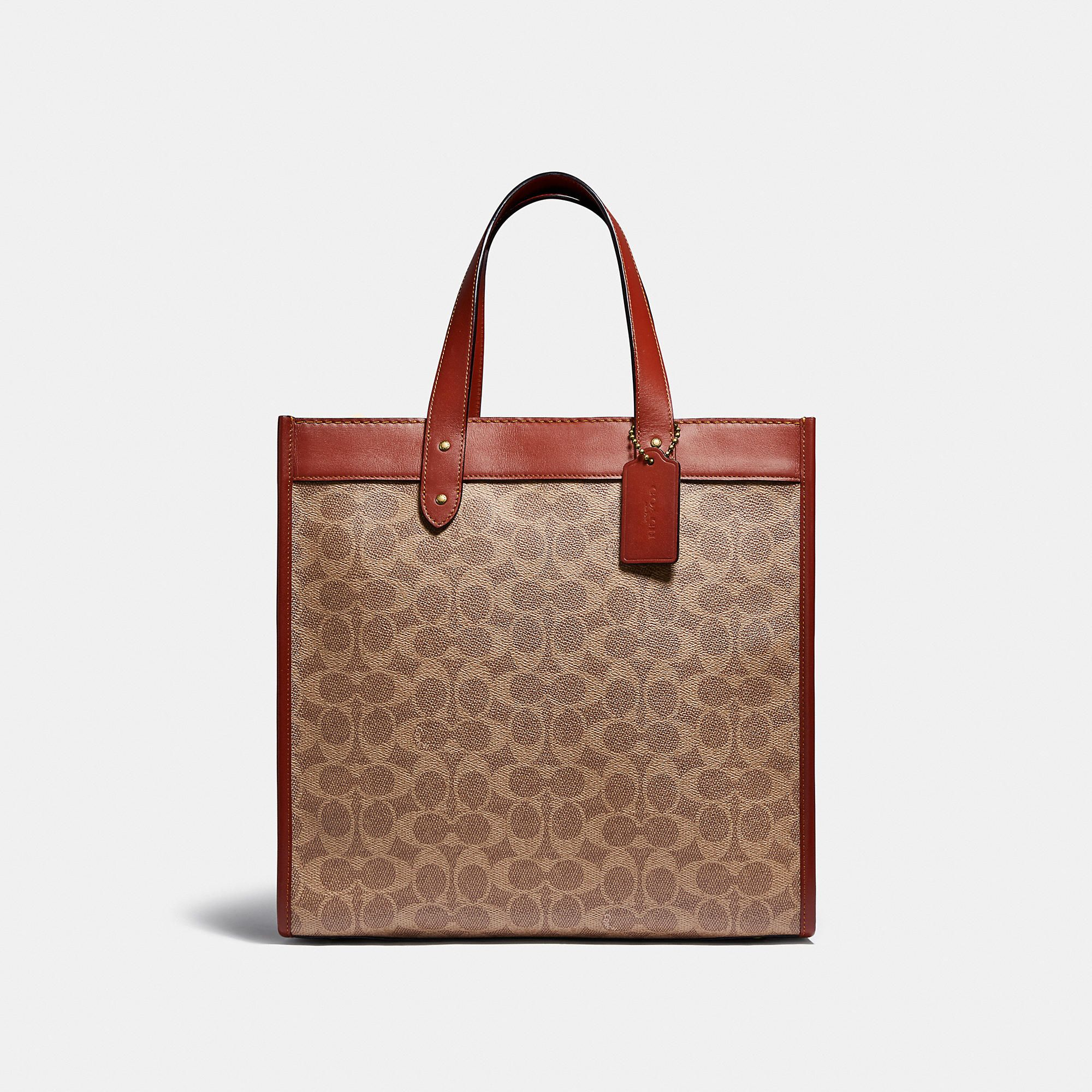 Field Tote In Signature Canvas With Horse And Carriage Print Signature Canvas Tote Coach Tote Bags